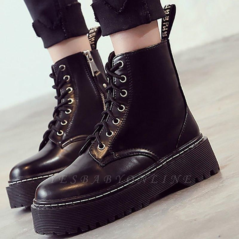 Platform Lace-up Round Boots On Sale