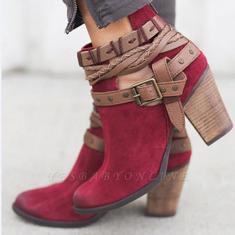 Velvet Adjustable Buckle Daily Pointed Toe Chunky Boots On Sale