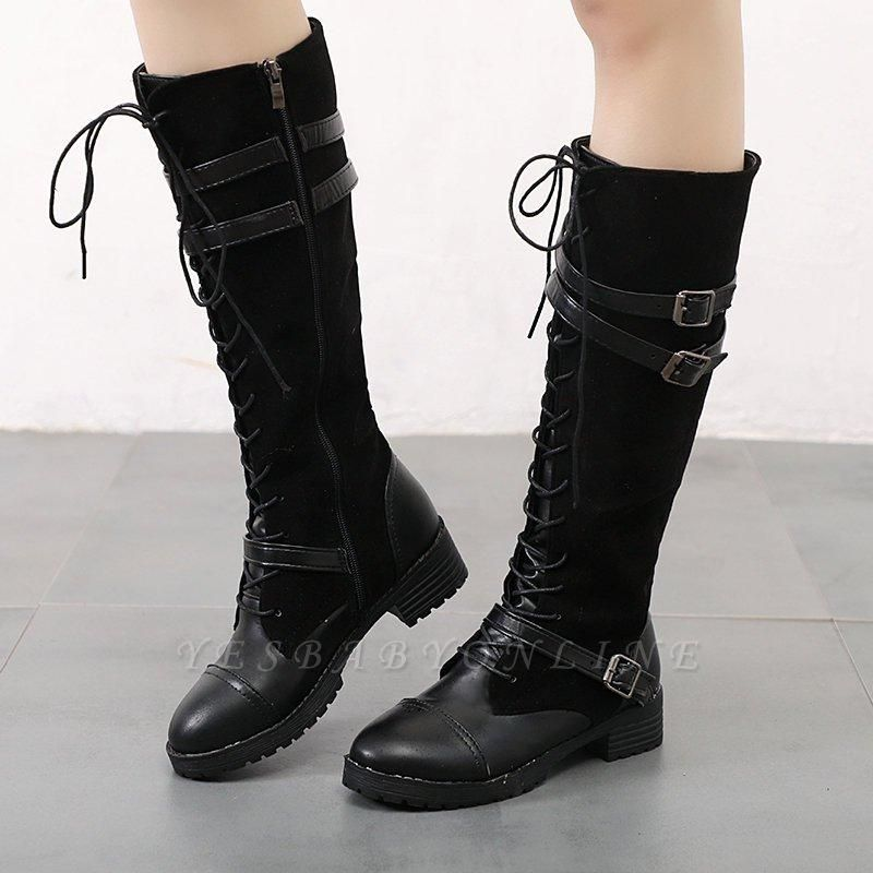 Daily Buckle Chunky Heel Suede Round Toe Boots On Sale