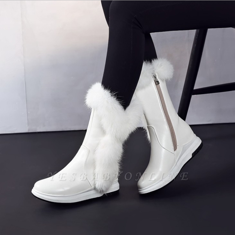 Wedge Heel Daily Zipper Round Toe Boots On Sale