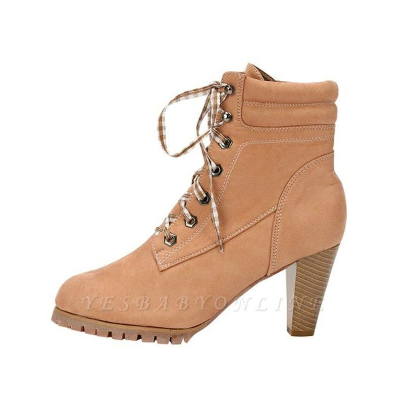 Women's Boots Brown Lace-Up Round Toe Elegant Chunky Heel Boots On Sale