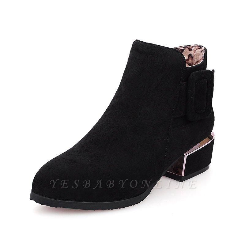 Chunky Heel Suede Button Boots On Sale