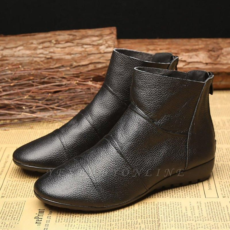 Daily Zipper Flat Heel Pointed Toe Boots On Sale