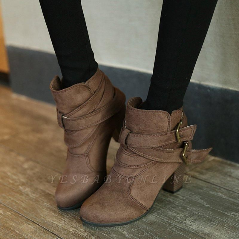 Suede Buckle Chunky Heel Daily Elegant Round Boots On Sale