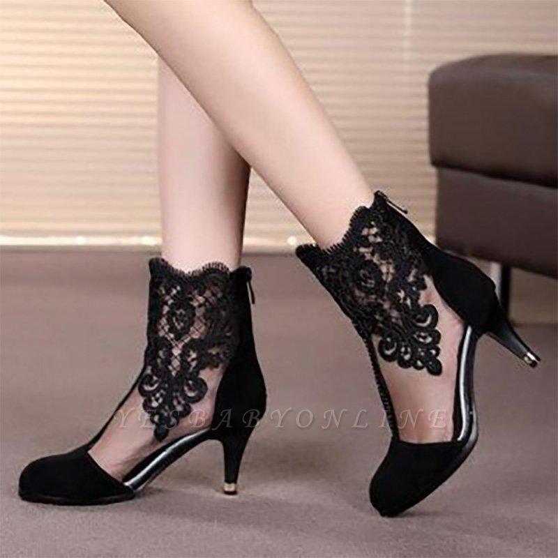 Dress All Season Stitching Lace Mesh Stiletto Boots On Sale
