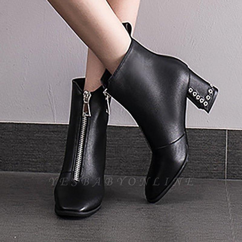 Zipper Chunky Heel Winter PU Daily Middle Heel Boots On Sale
