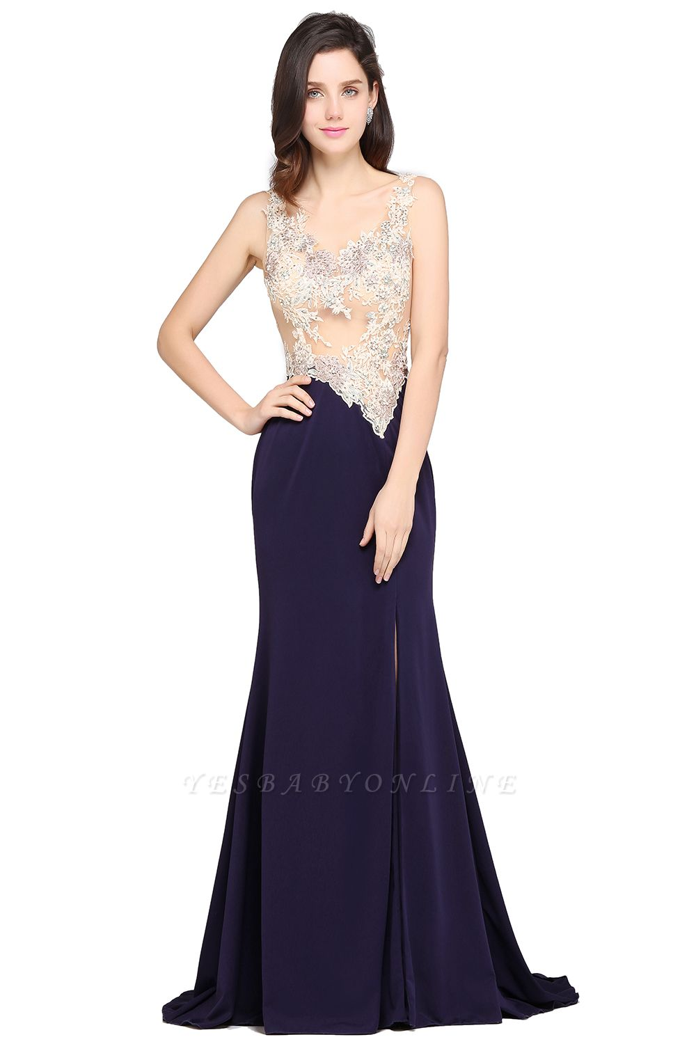 Sheath Sweep Train Dark Navy Evening Dresses