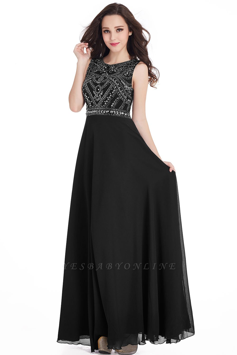Sheath Jewel Crystals Floor Length Long Chiffon Cheap Prom Dresses