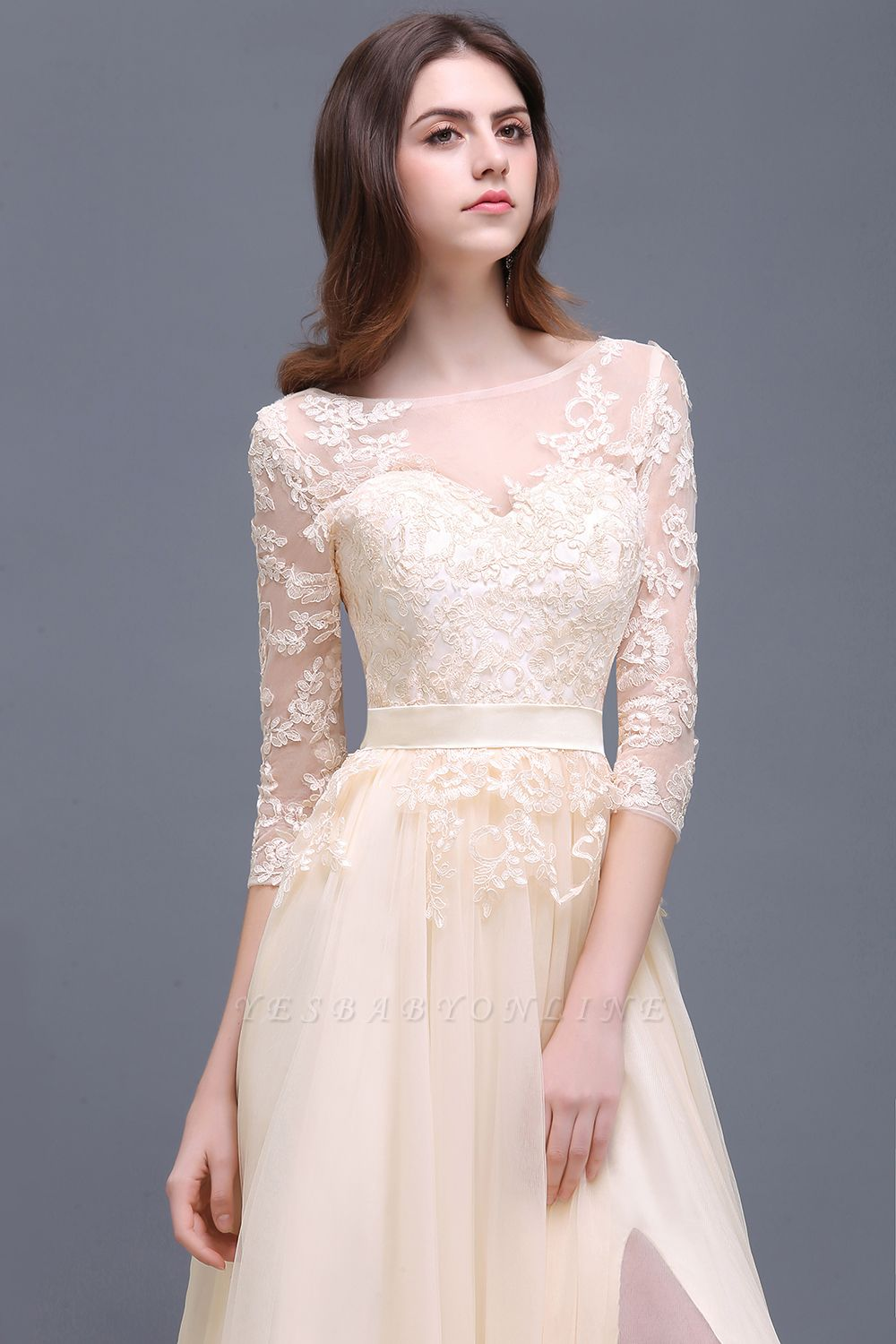 Champagne Scoop-Neckline Three-quarter-Sleeves Lace-Appliques Prom Dress
