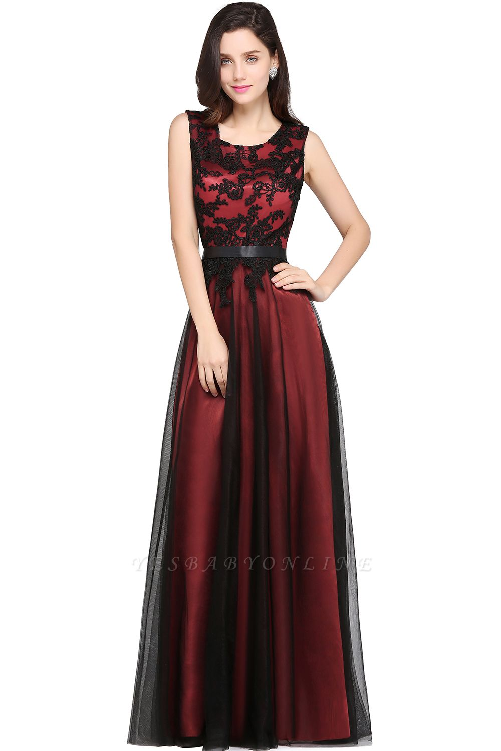 Cheap Pretty Sleeveless Black Lace Tulle Floor Length Formal Evening Dress with Sash in Stock