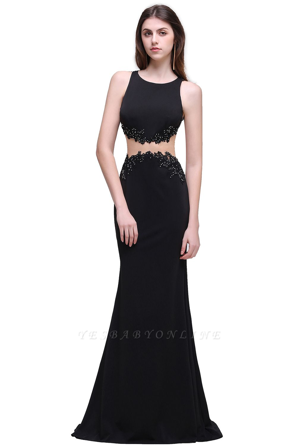 Sheath Round Neck Floor-Length Black Prom Dresses With Crystal