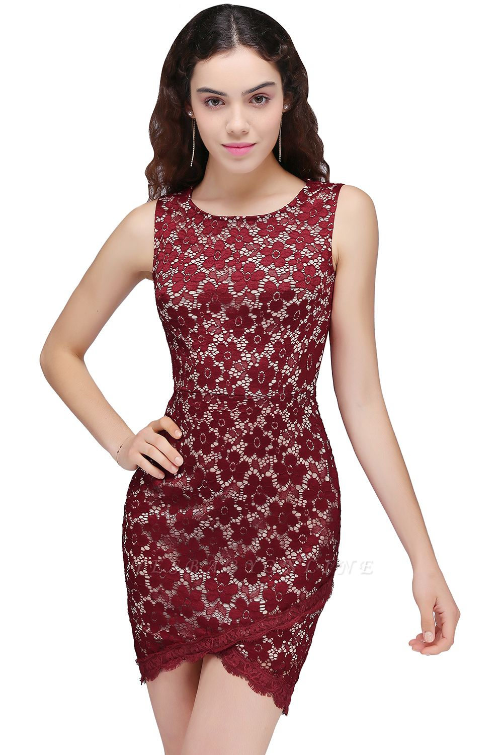 Cheap Bodycon Round Neck Short Lace Burgundy Homecoming Dress in Stock