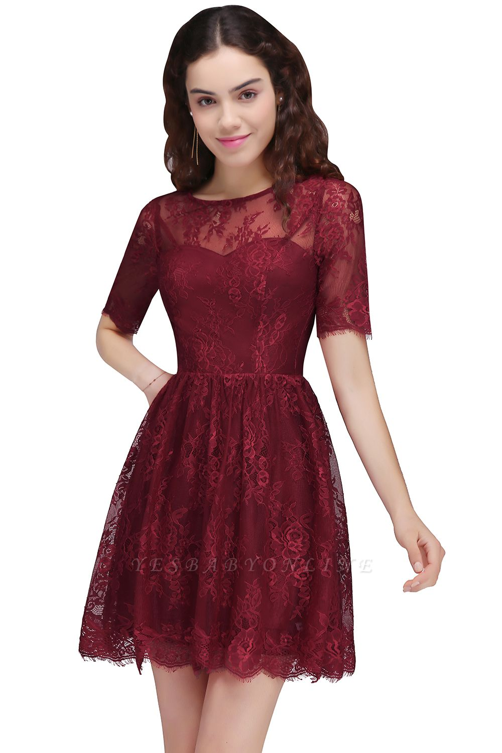Cheap A-Line Round Neck Short Lace Burgundy Homecoming Dress in Stock