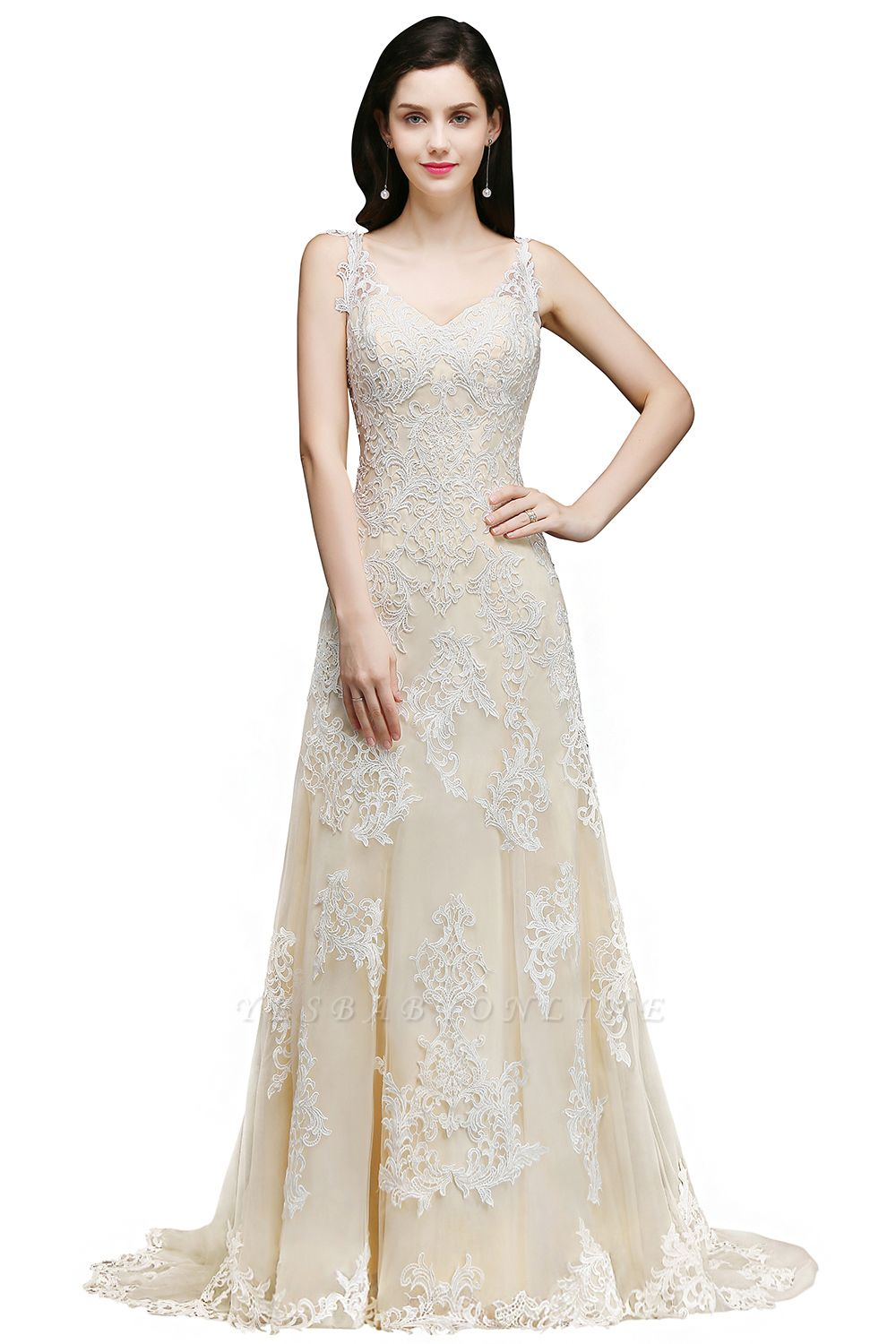 A-line V-Neck Sweep Train Champagne Prom Dresses with Buttons