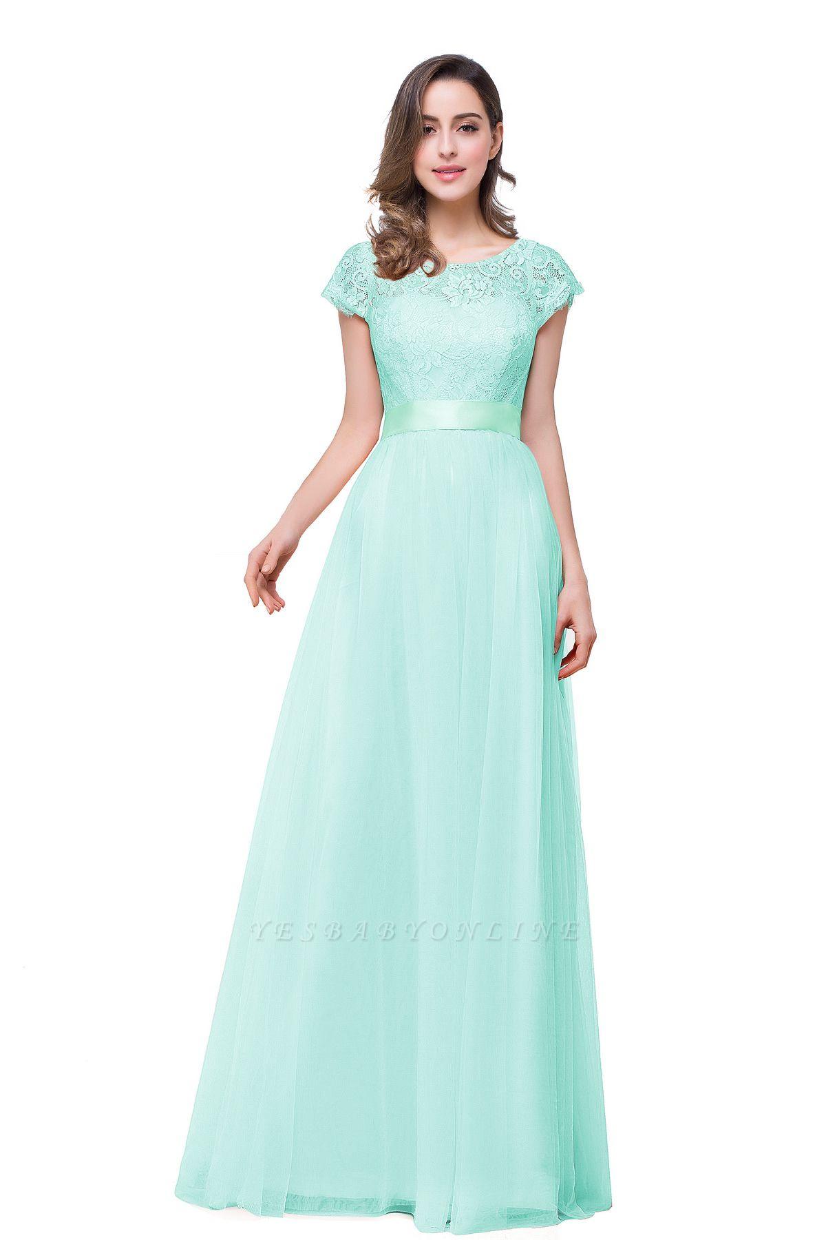 ELLIANA | Elegant Short Sleeves A-line Chiffon Bridesmaid Dresses with Ribbon Bow Sash