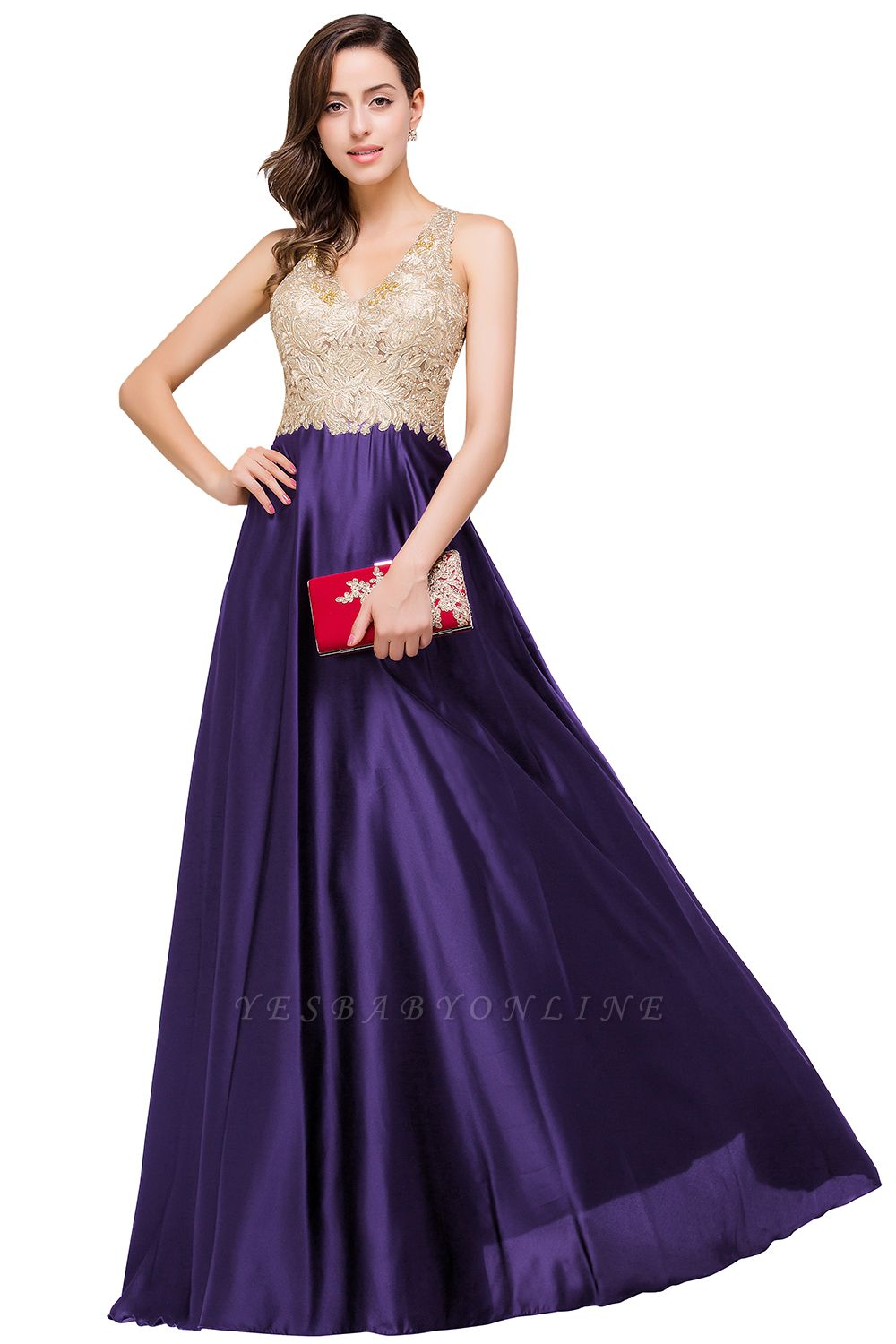 Cheap V-neck Satin Floor-Length A-Line Appliques Backless Prom Dress in Stock