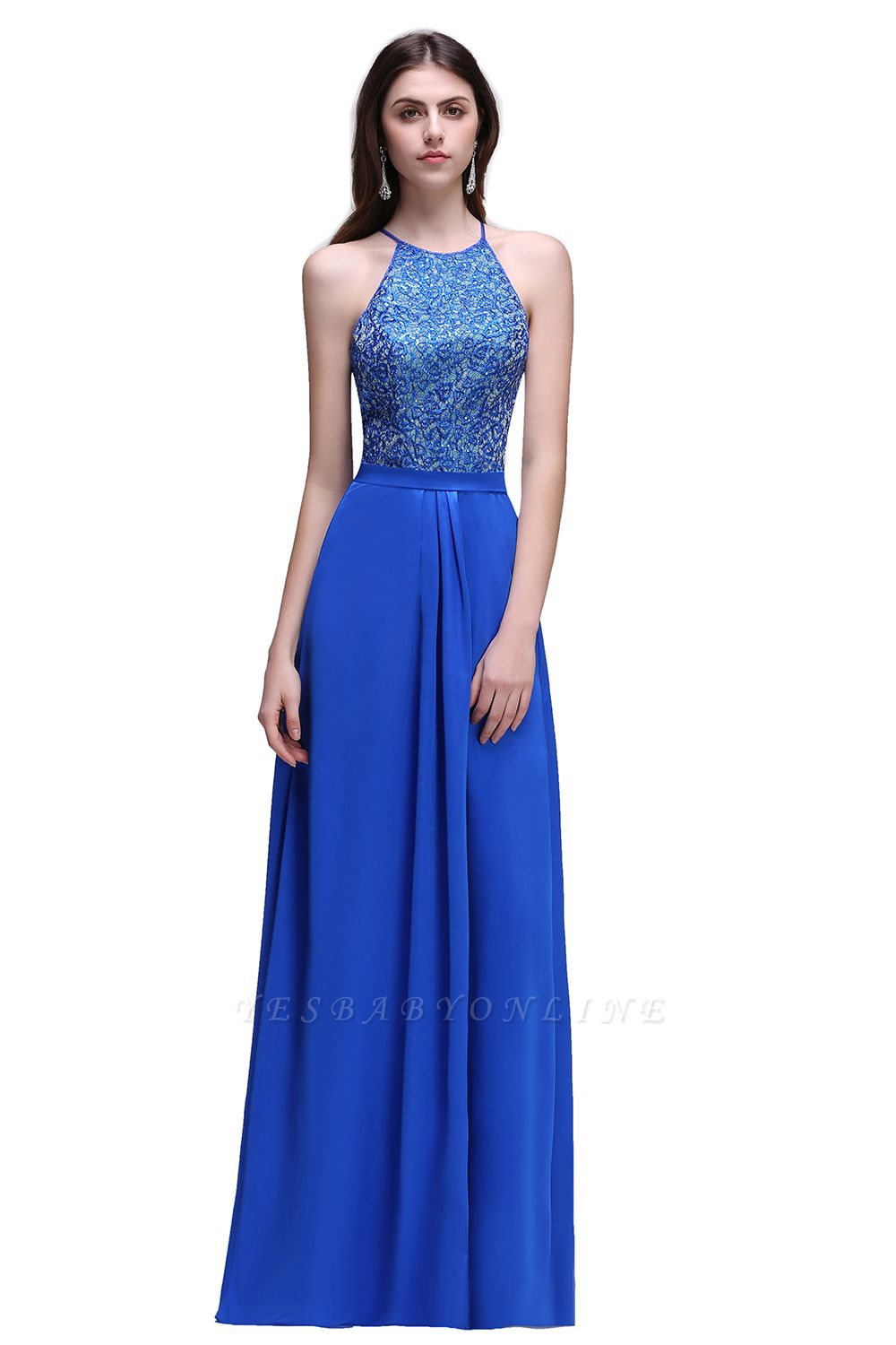 CALLIE   A-line Halter Neck Chiffon Royal Blue Prom Dresses with Sequins
