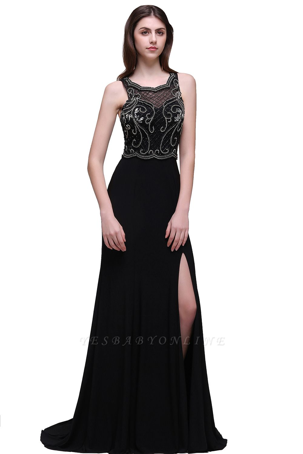 Sweep-train Chic Split-front Sleeveless A-line Chiffon Prom Dress