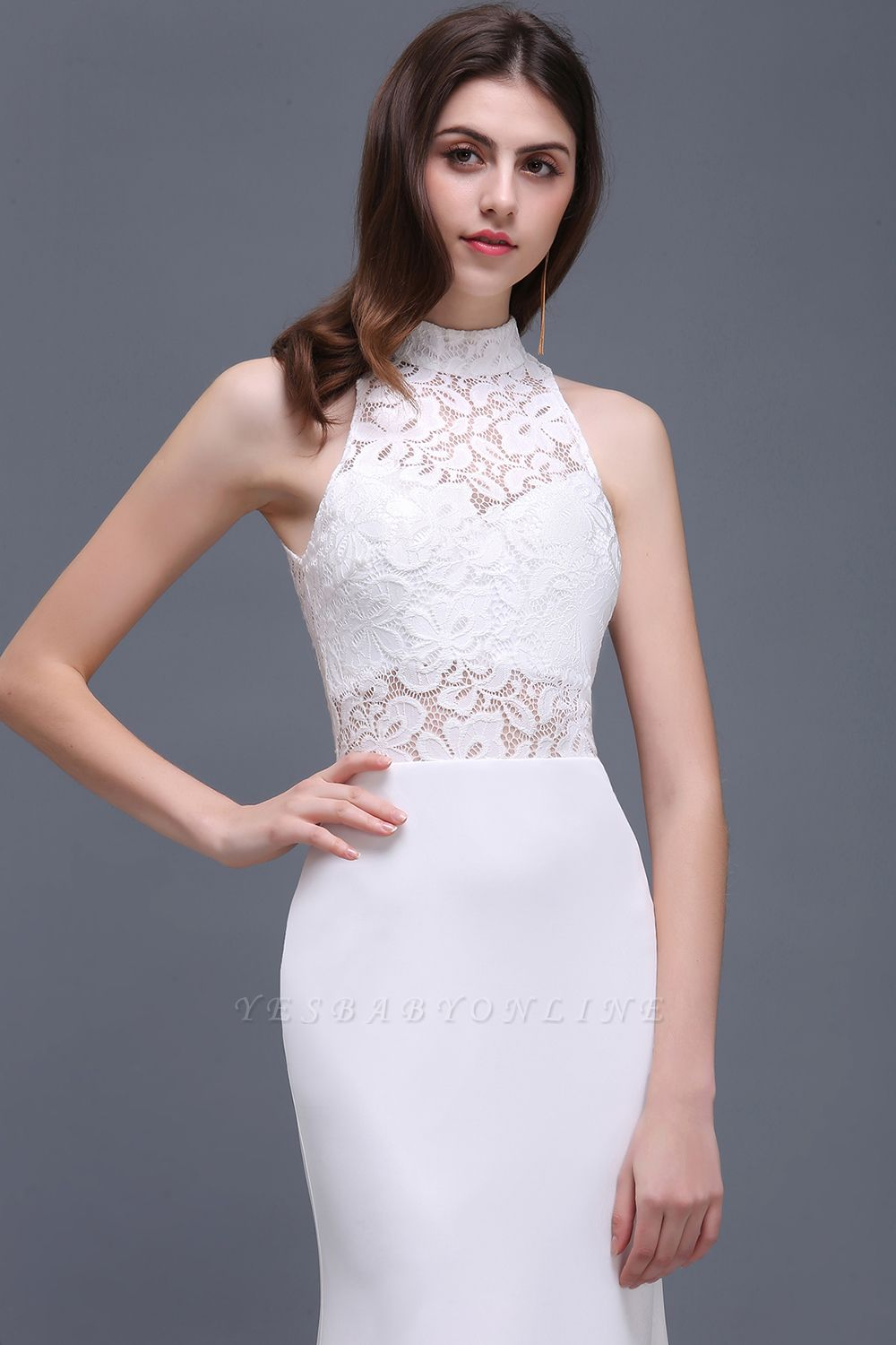 ALANNA | High Neck Mermaid  Lace White Wedding Dresses With Ruffles