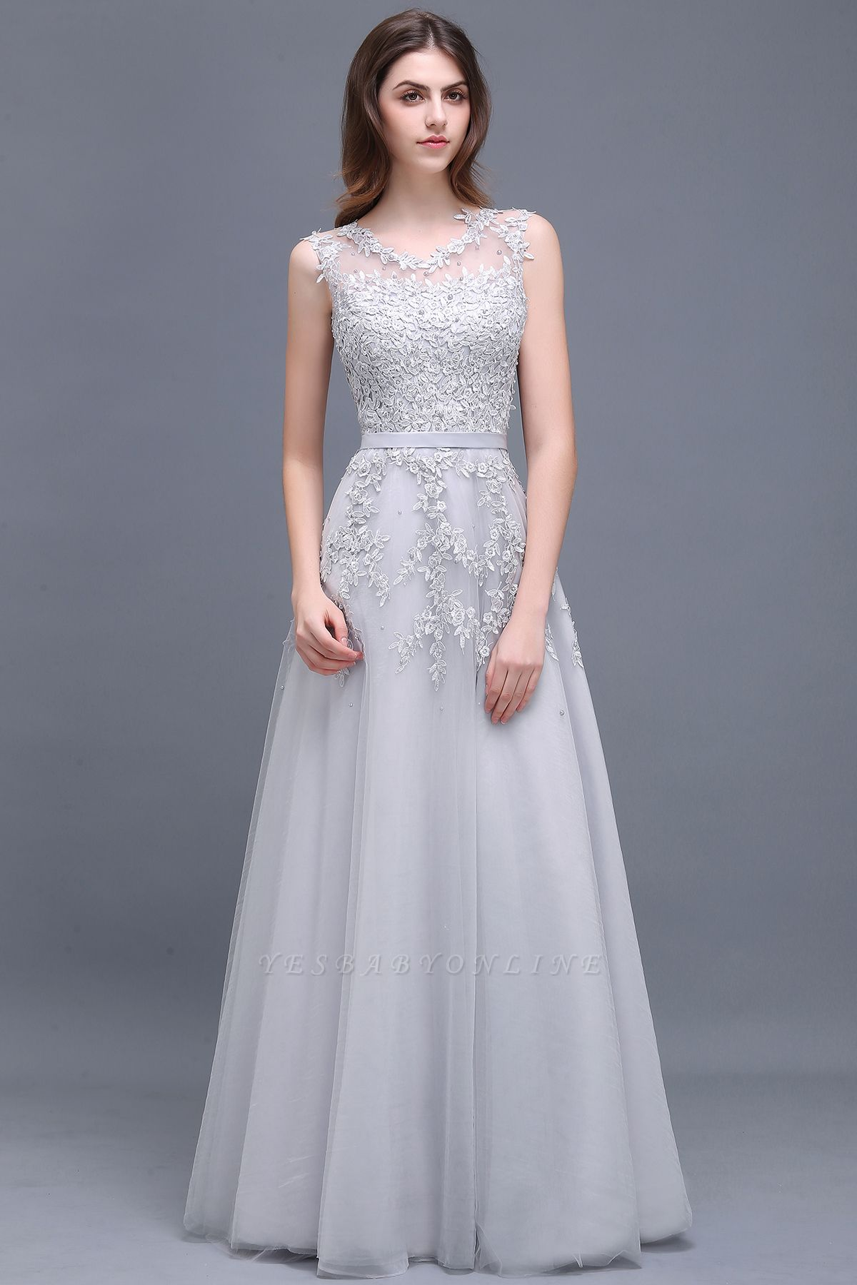 Cheap A-line Floor-length Tulle Prom Dress with Appliques in Stock