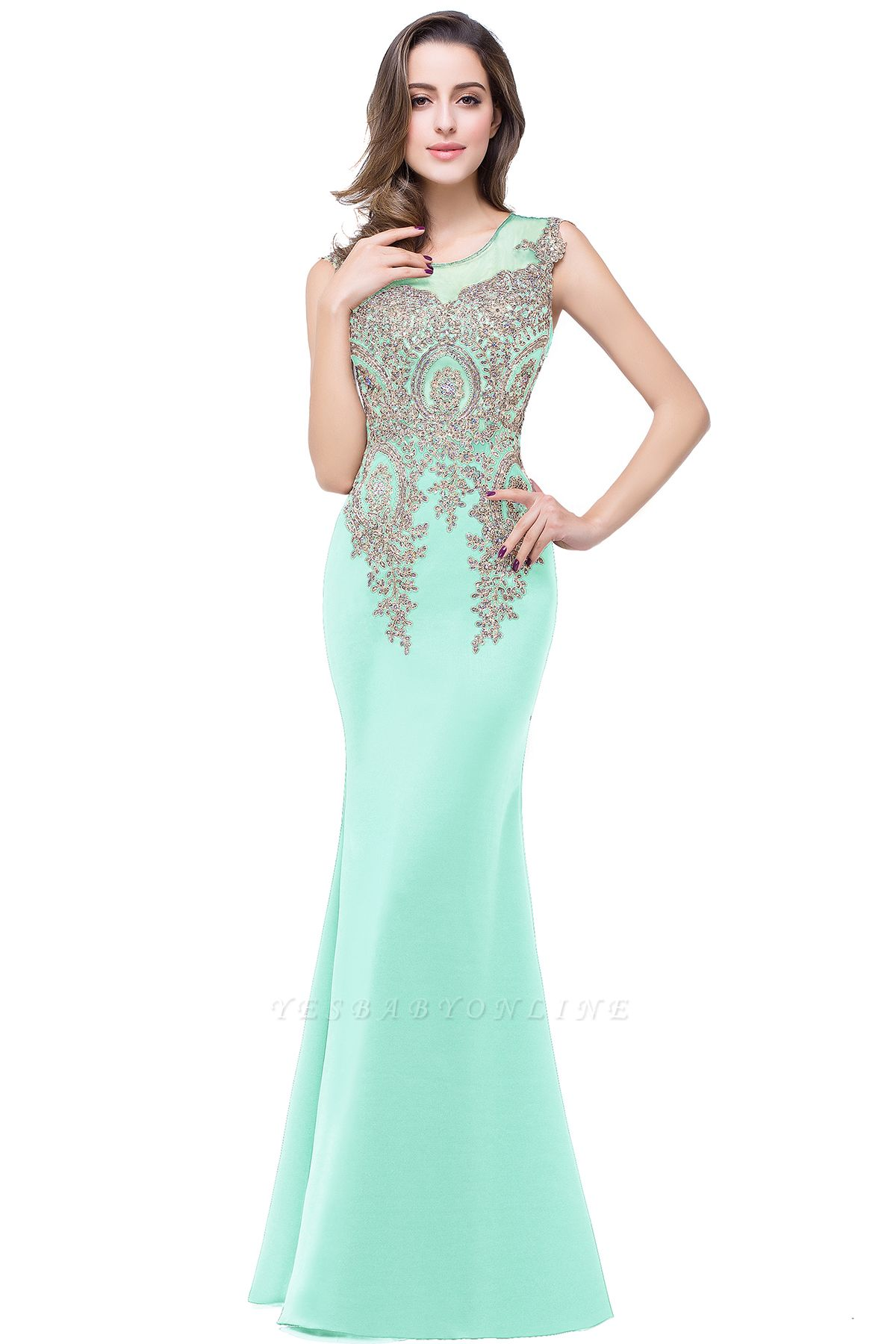 ADDISYN | Mermaid Floor-length Chiffon Evening Dress with Appliques