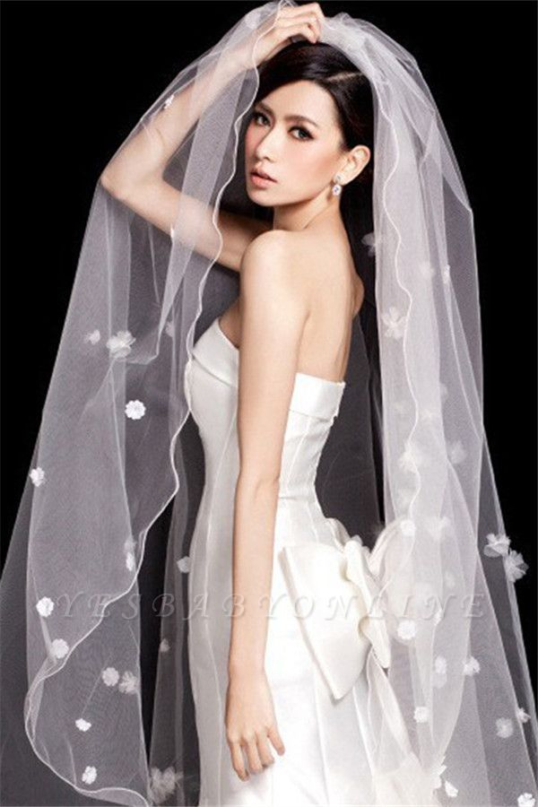 Floral Cute Elegant Tulle Pencil Edge 3*1.5M Wedding Gloves