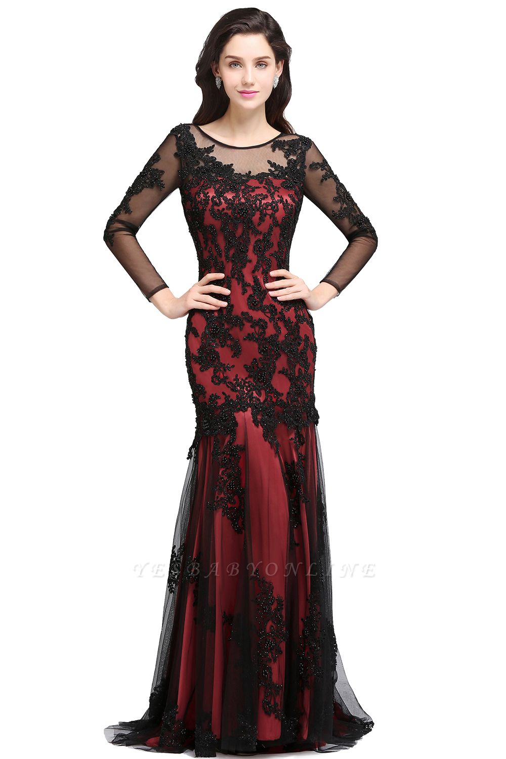 Mermaid Jewel Neck Long Tulle Red Sexy Evening Dresses with Beading