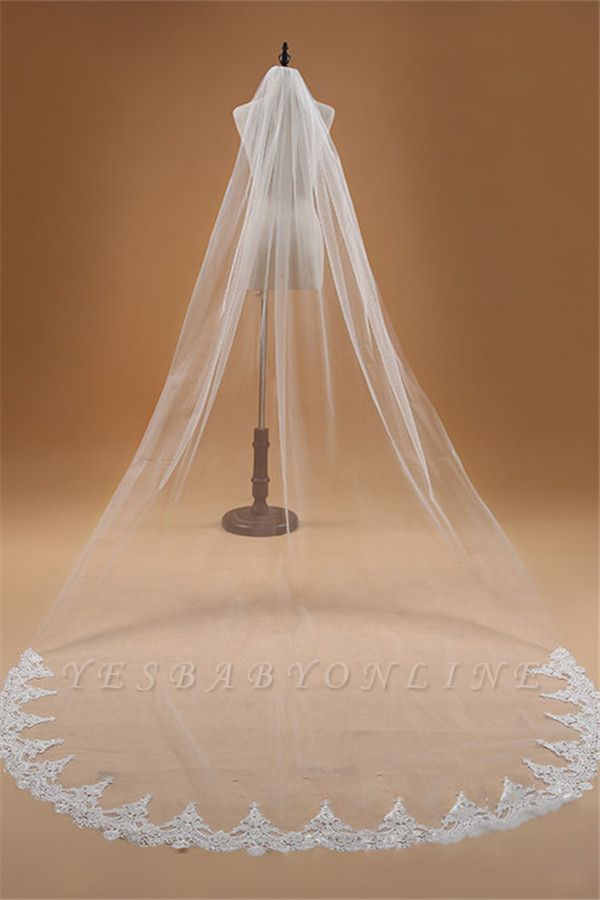 Floral Elegant Tulle  Lace Applique Edge 3*1.5M Wedding Gloves with Comb