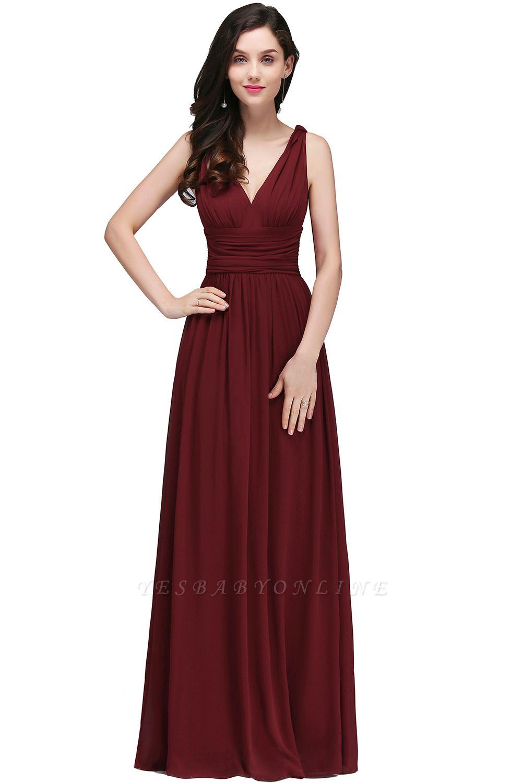 Elegant A-Line  V-Neck Sleeveless Ruffles Floor-Length Bridesmaid Dresses