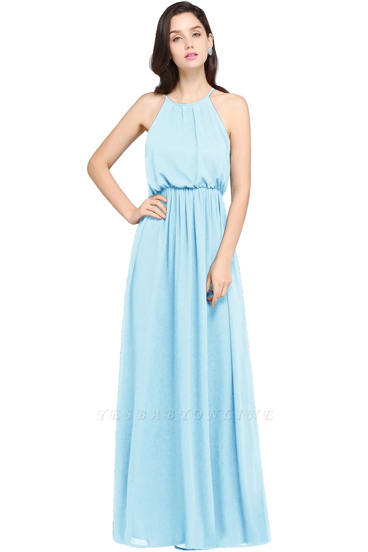 Dark Navy Halter Chiffon Sleeveless Bridesmaid Dresses | Wedding Guest Dresses