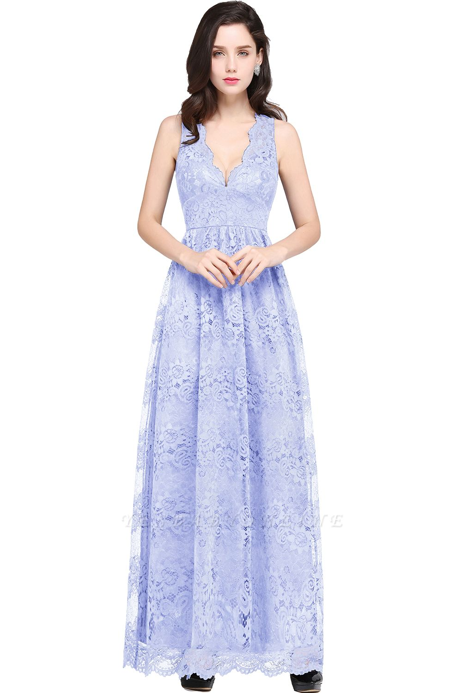 CHAYA | Sheath V-neck Floor-length Navy Blue Lace Prom Dress
