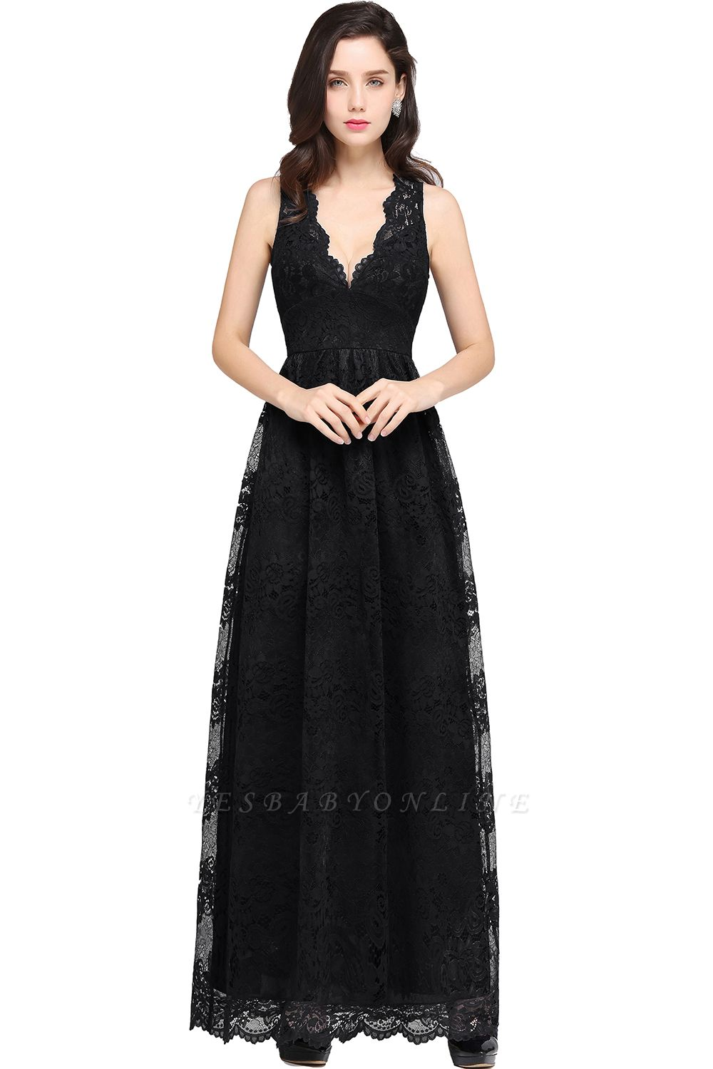 CHAYA | Sheath V-neck Floor-length Navy Blue Lace Prom Dress