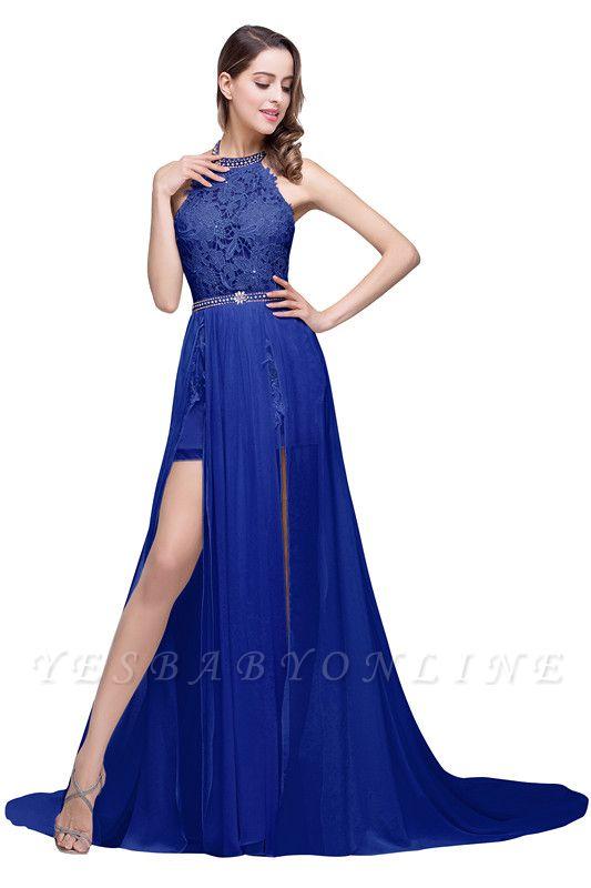 ADELE | A-line Halter Chiffon Lace Evening Dress