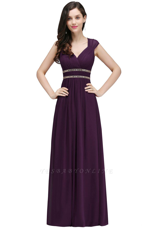Vintage Burgundy Cap Sleeve Chiffon Long Evening Dress