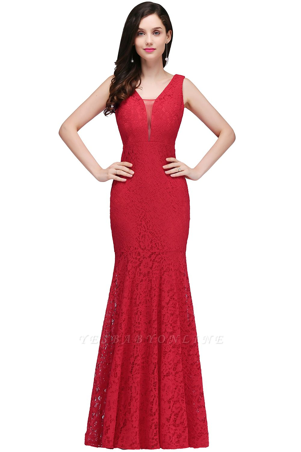 Elegant Mermaid Lace V-Neck Sleeveless Floor-Length Bridesmaid Dresses