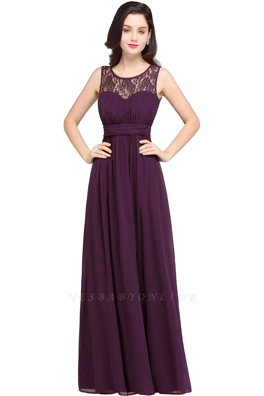 CHELSEA | Cheap Long Lace Prom Dress | Afforable Chiffon Lace Evening Dress