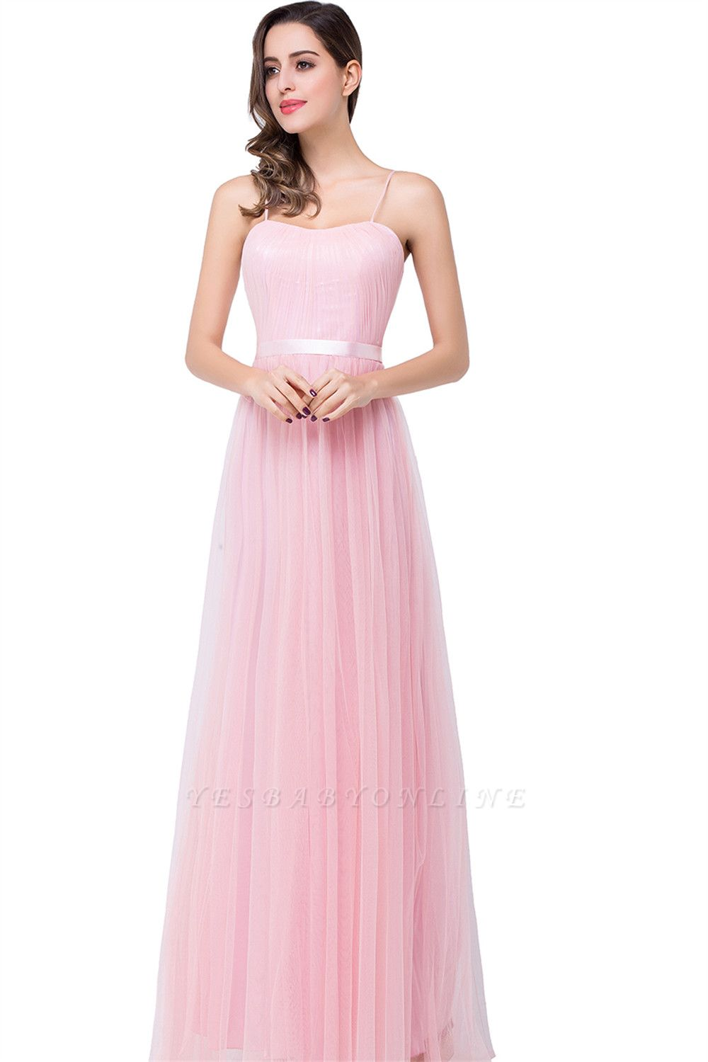 A-line Sweetheart Floor-length Pink Tulle Ruffles Cheap Bridesmaid Dresses