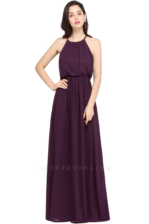Dark Navy Halter Chiffon Sleeveless Bridesmaid Dresses | Cheap Wedding Guest Dresses