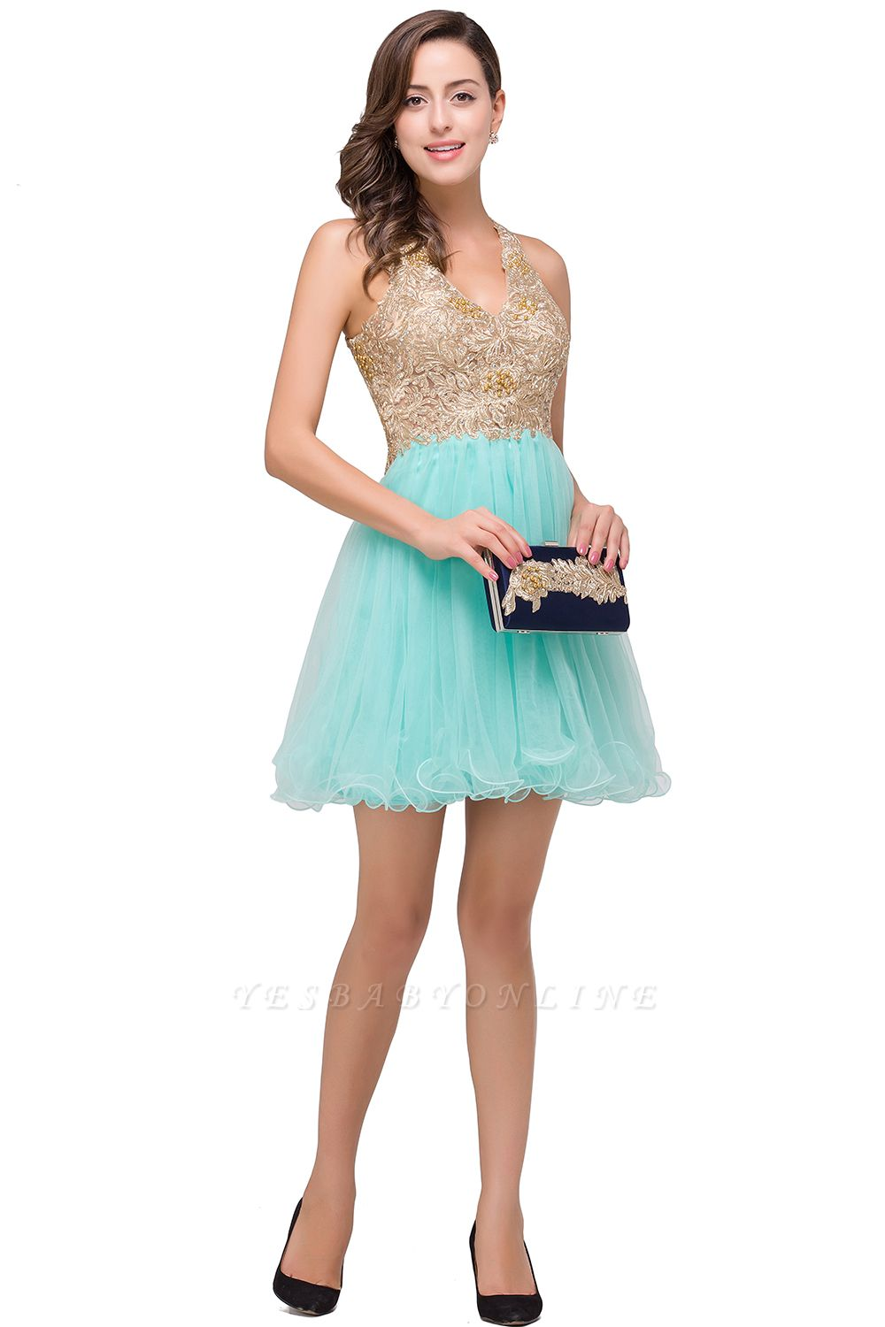 Cheap Short Tulle A-line V-Neck Appliques Sleeveless Prom Dress in Stock