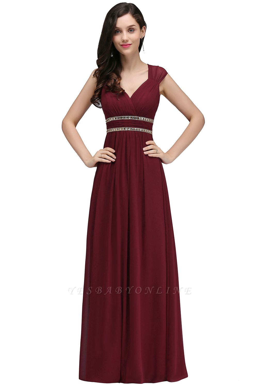 Vintage A-Line  V-Neck Cap Sleeve Ruffles Floor-Length Bridesmaid Dresses with Beadings