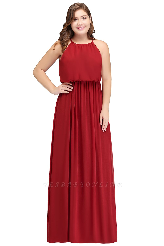 Burgundy Plus Size Chiffon Sleeveless Bridesmaid Dresses | Affordable Wedding Guest Dresses