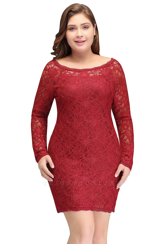 Burgundy Bateau Long Sleeves Lace Sheath Plus Size Short Party Dresses