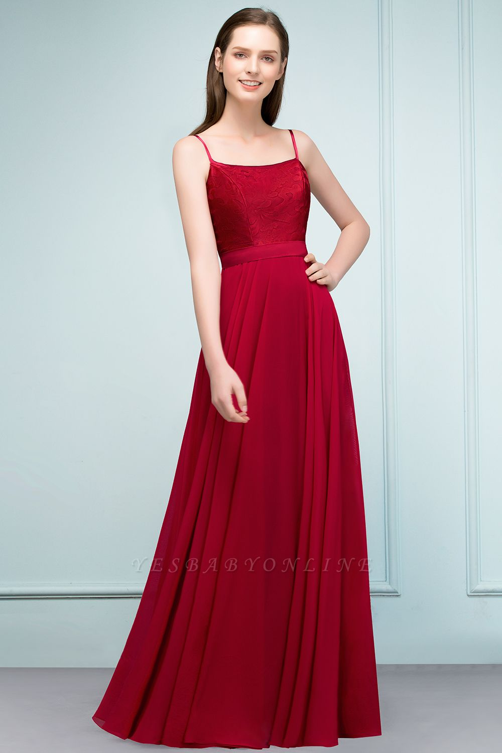 A-line Spaghetti Floor Length Lace Appliques Prom Dress In Stock