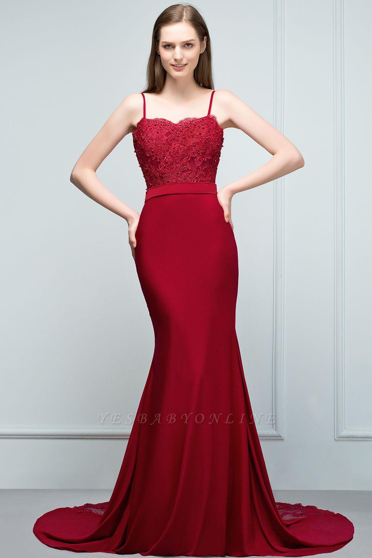 Mermaid Charmeuse Lace Spaghetti-Straps Sweetheart Sleeveless Floor-Length Bridesmaid Dresses with Beads