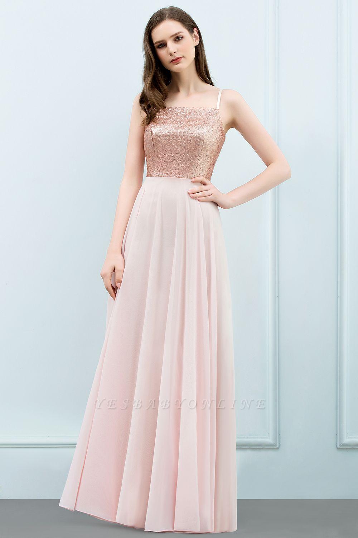 A-line  Sequined Spaghetti Straps Sleeveless Floor-Length Bridesmaid Dress