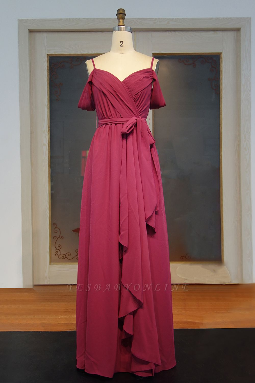 Chiffon Burgundy Bridesmaid Dresses,Spaghettis Straps Long Bridesmaid Dress