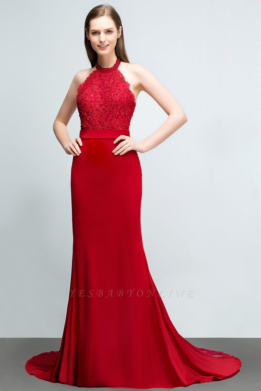Mermaid Charmeuse Lace Halter Sleeveless Floor-Length Bridesmaid Dresses with Sash