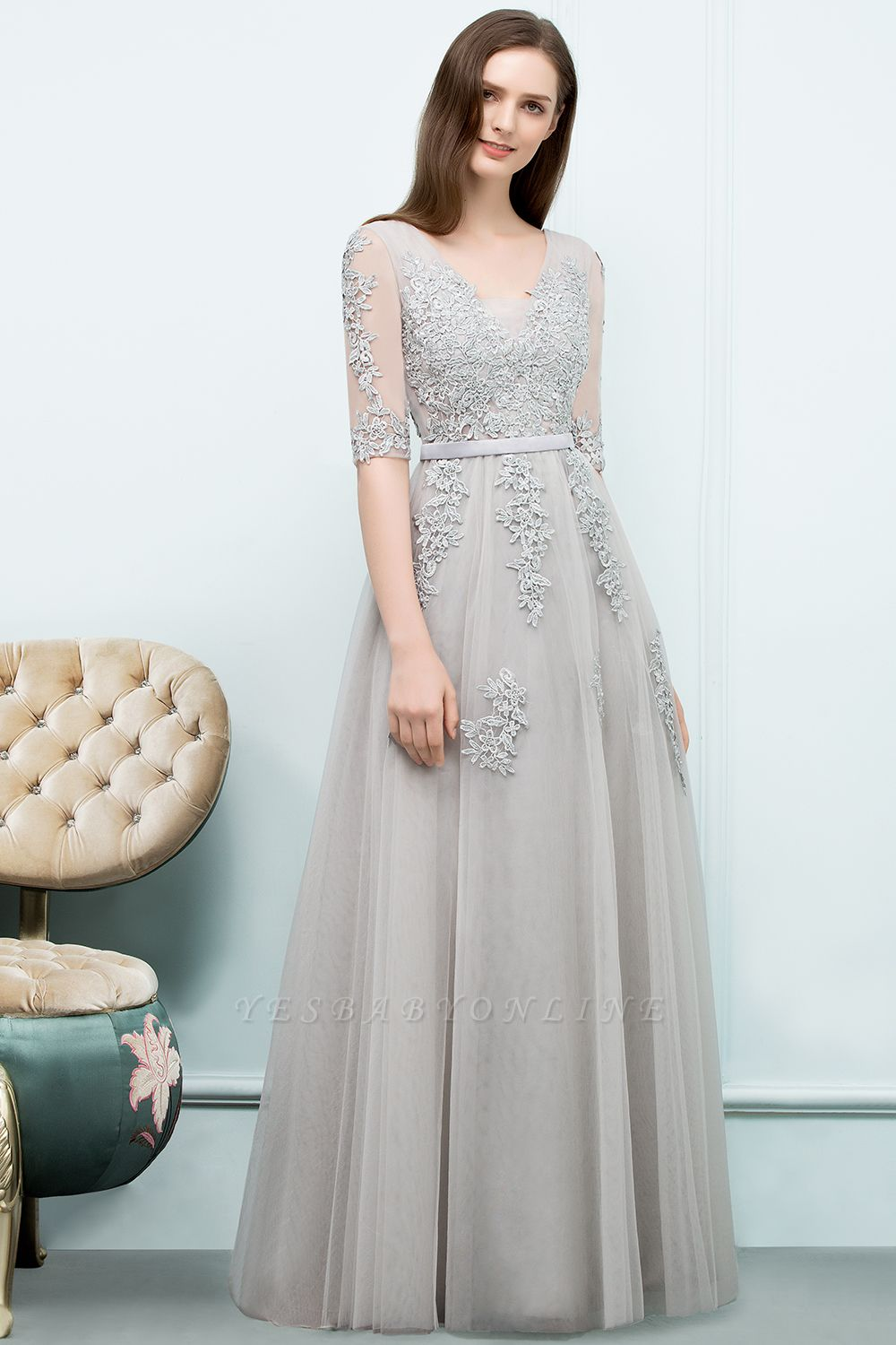 A-line Half-sleeve V-neck Floor Length Appliqued Tulle Prom Dress with Sash In Stock