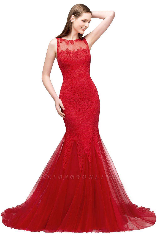 Mermaid Floor Length Illusion Neckline Sleeveless Tulle Lace Prom Dresses