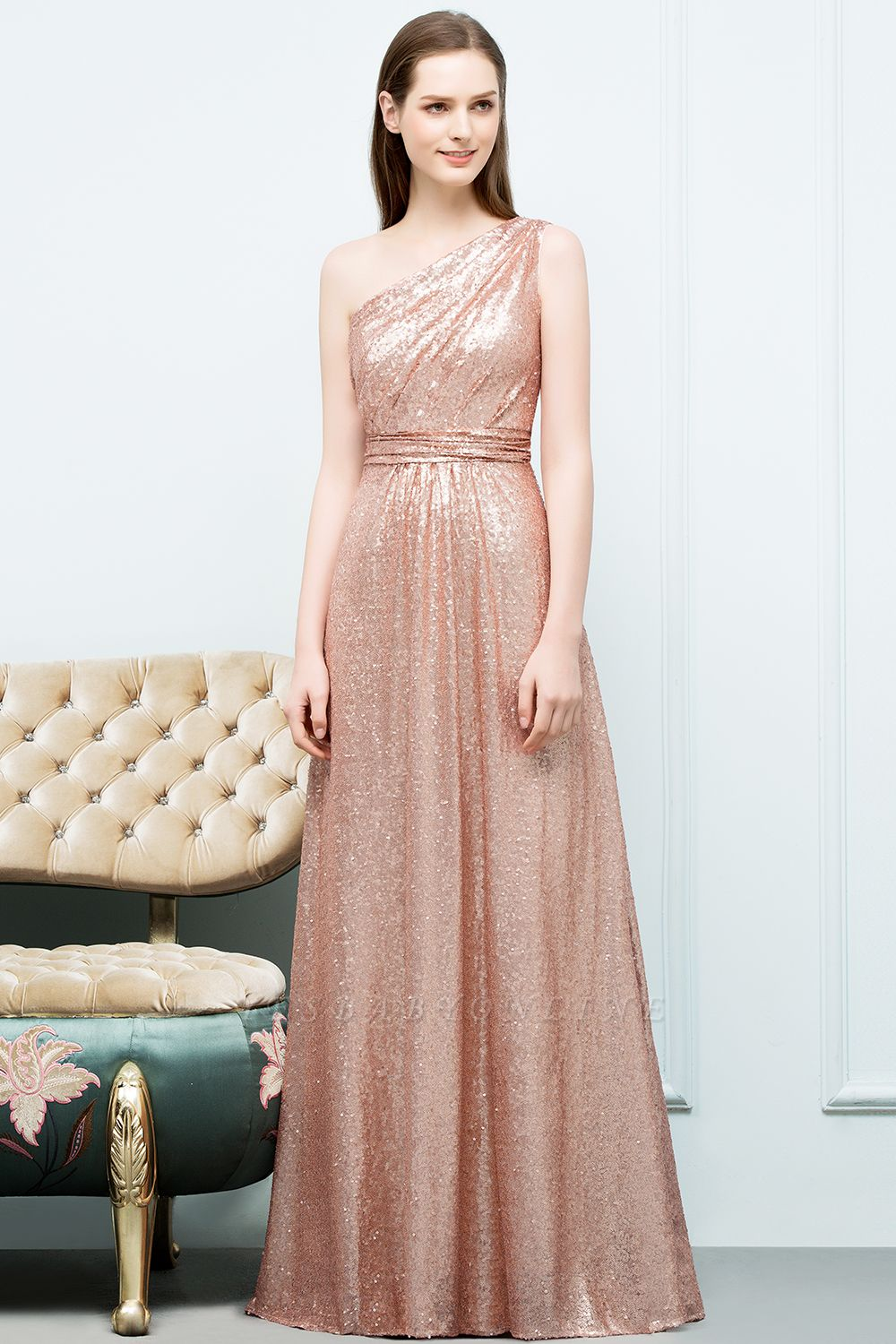 A-line Sequined One-shoulder Sleeveless Floor-Length Bridesmaid Dresses